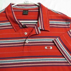XL Red Striped Oakley Mens Cotton #40I Golf Polo